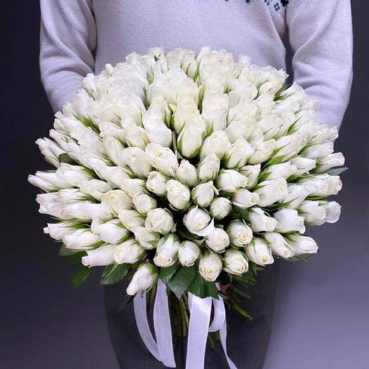 101 белая роза премиум (возможен запрос доп скидки)