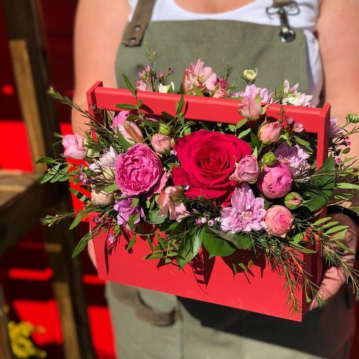 Ящик в розовых оттенках 30 см