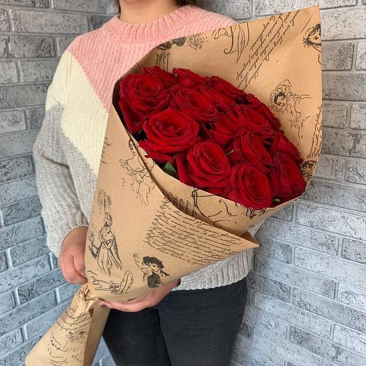 конверт красных роз