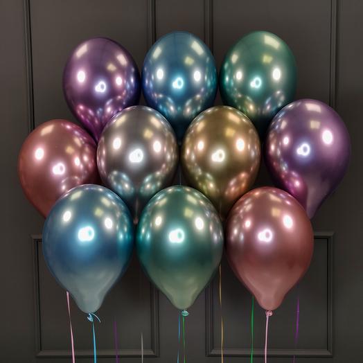 Воздушные разноцветные хромированные шарики 15 шт
