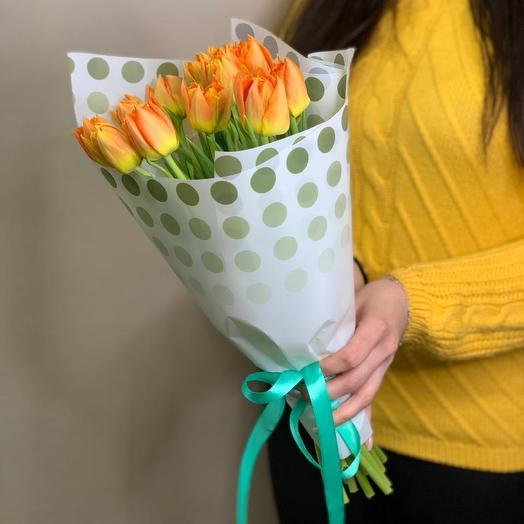 Букет из 15 пионовидных персиковых тюльпанов