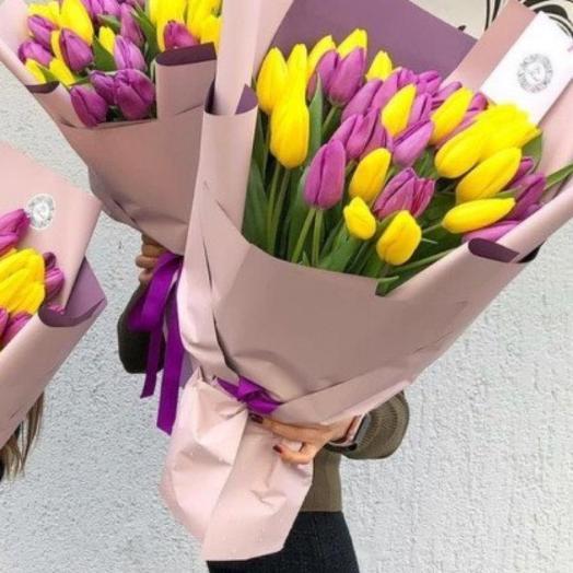 Сиренево-желтые тюльпаны 31 штука