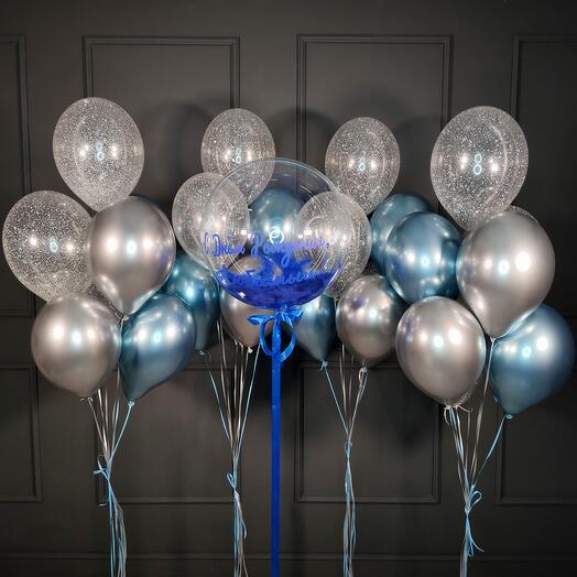 Композиция с баблом с синими перьями и четырьмя фонтанами из шаров