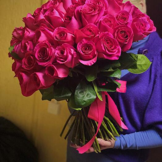 51 розовая роза Эквадор