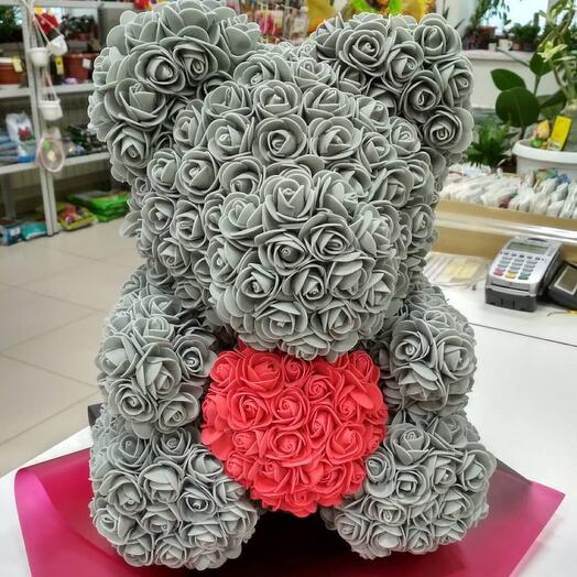 Мишка из роз 40см медведь из роз