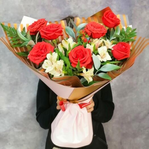 Букет из роз и альстромерий 63860