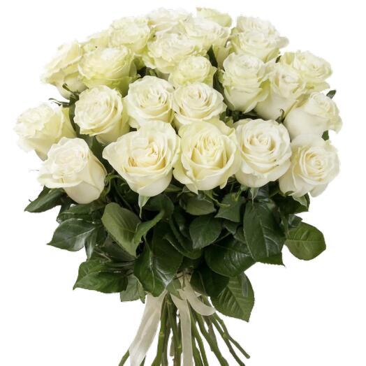 Букет из 21 крупных белых эквадорских роз 50 см