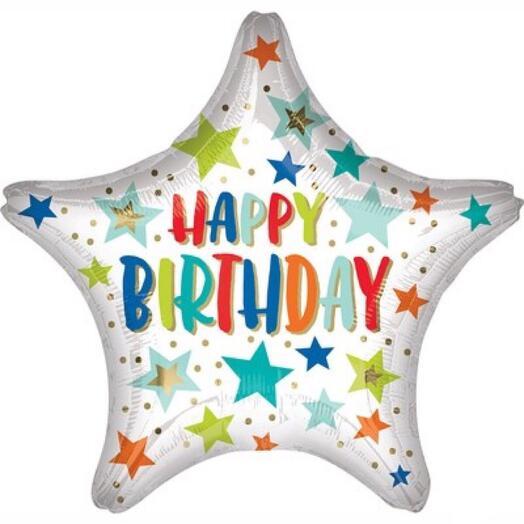 Шарик-звезда «Happy birthday»
