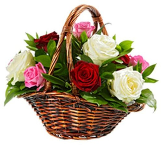 165189 Корзина Розы к празднику: букеты цветов на заказ Flowwow