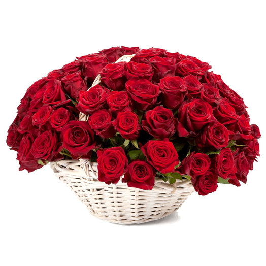 Корзина красные розы в : букеты цветов на заказ Flowwow