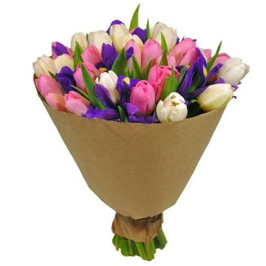 Букет из тюльпанов и ирисов Нежность: букеты цветов на заказ Flowwow