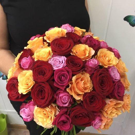 51 роза микс (50 см): букеты цветов на заказ Flowwow