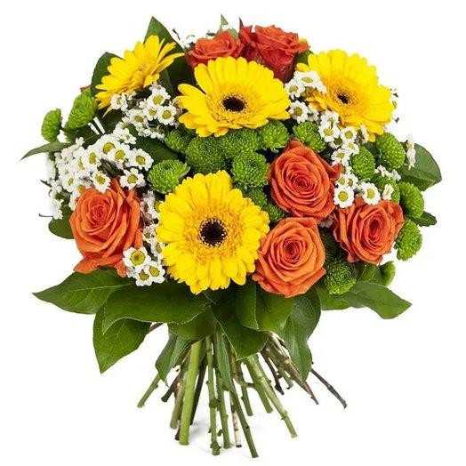 """Букет """"Осенняя радость"""" из гербер, роз, хризантем. Код 180091: букеты цветов на заказ Flowwow"""