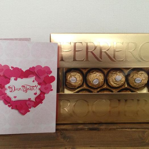 Конфеты Ферреро и открытка с шоколадками: букеты цветов на заказ Flowwow