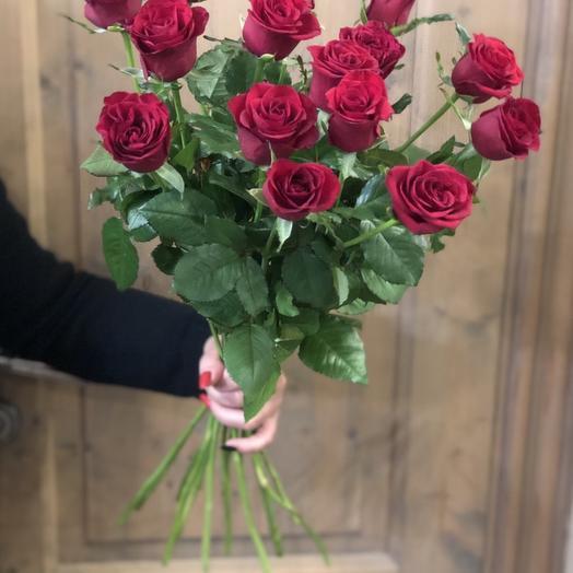 """БОльшой букет из роз """"15 бордовых розочек"""""""
