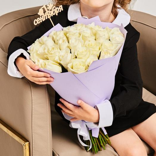 Букет «Первоклашка» - 35 Белых Роз: букеты цветов на заказ Flowwow
