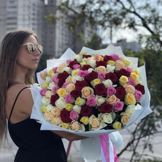101 роза микс (50см)