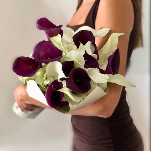 Изысканный букет из калл: букеты цветов на заказ Flowwow