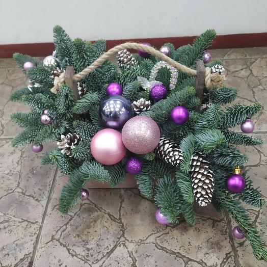 Композиция в ящичке с нобилисом и новогодним декором: букеты цветов на заказ Flowwow