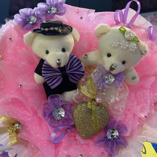 Свадебный букет из мягких игрушек: букеты цветов на заказ Flowwow