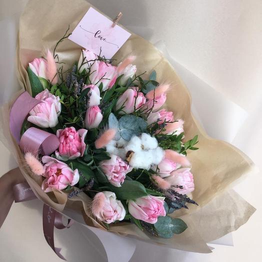 Красивый букет с тюльпанами: букеты цветов на заказ Flowwow