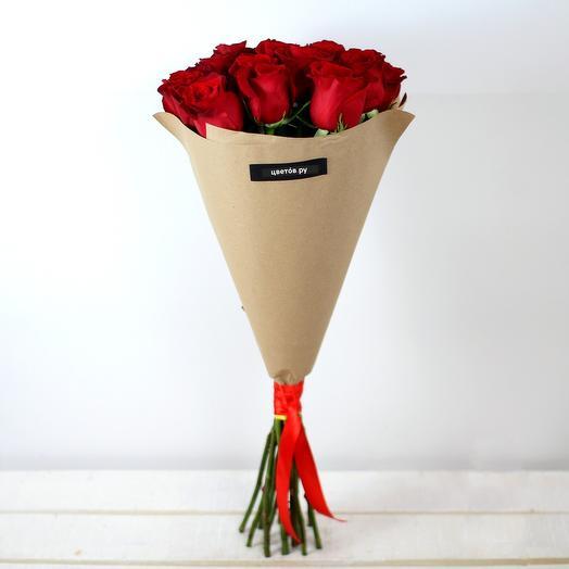Букет из 15 красных роз премиум-качествав крафте