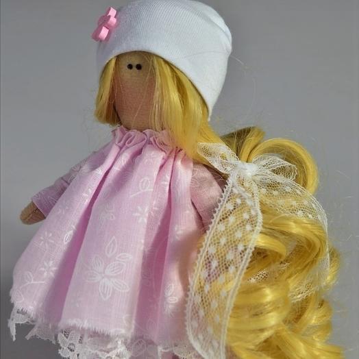Кукла Модница в розовом платье, 20 см, ручная работа: букеты цветов на заказ Flowwow