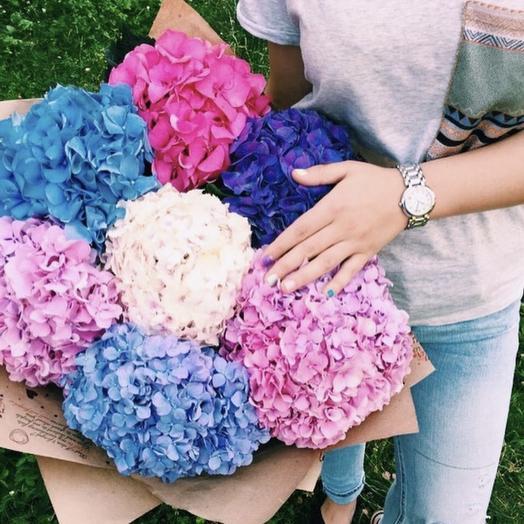 Гортензии микс: букеты цветов на заказ Flowwow