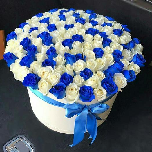 101 синяя роза микс в коробке
