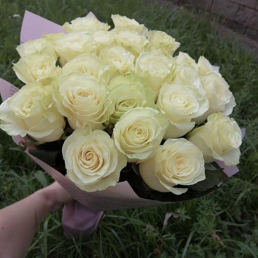 Букет из белых роз 21шт