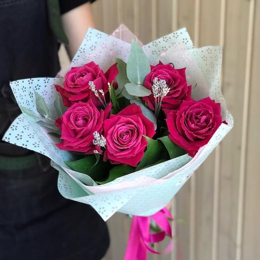 Букет из премиум роз с лавандой