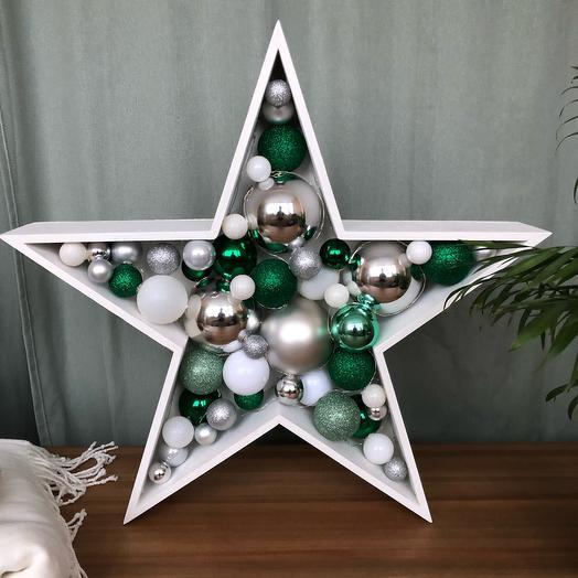 Новогодняя звезда ⭐️ серебряный зелёный белый