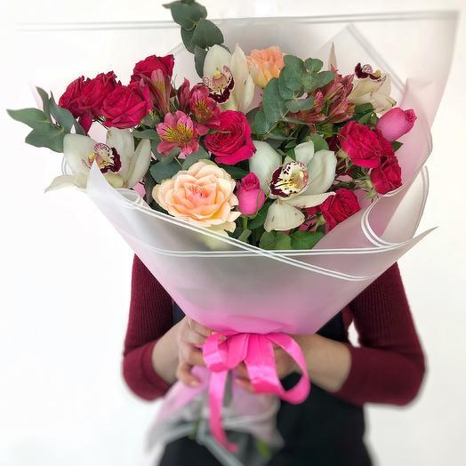 Букет Роз, Альстромерии и Орхидеи