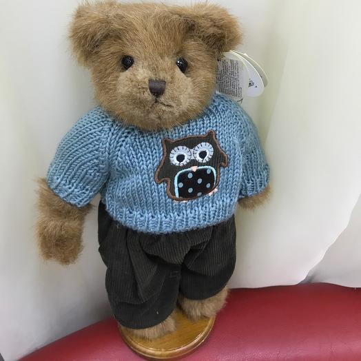 Teddy bear in a blouse with an owl