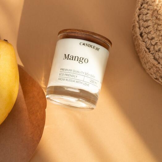 Свеча ароматическая MANGO/ Аромат: манго - аромасвечи с деревянным фитилем, CANDLE ME