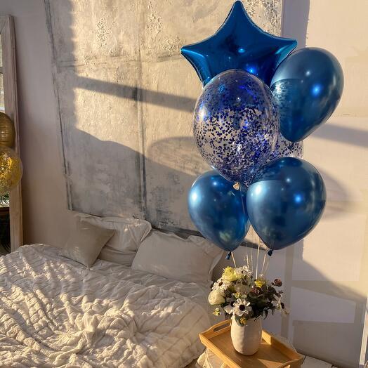 Набор из 6 шаров в синем цвете