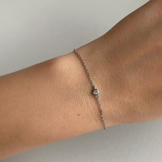 Тонкий браслет из серебра