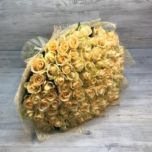 Букет из  101 розы ( 50 см ) Бежевая  ( Кремовая ) N49: букеты цветов на заказ Flowwow