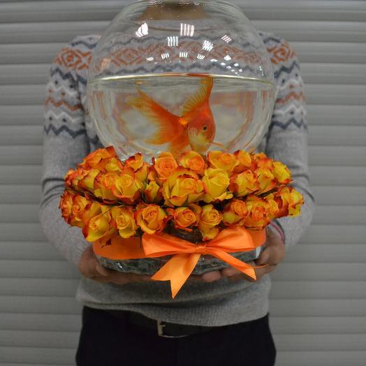 Orange Gold Fish: букеты цветов на заказ Flowwow