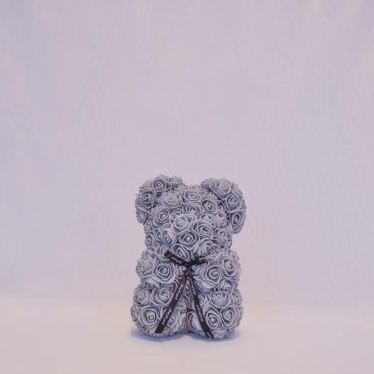 Мишка из роз RozaRose Серый- 25 см: букеты цветов на заказ Flowwow