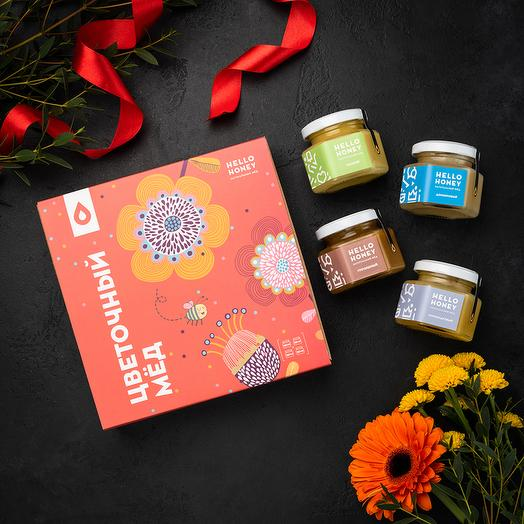 Подарочный набор мёда «Цветочный мёд» красный: букеты цветов на заказ Flowwow