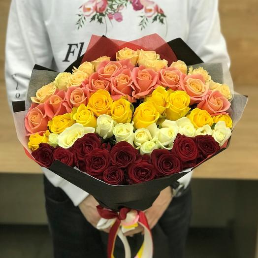 Розы. Букет из 51 розы микс (50 см). N395: букеты цветов на заказ Flowwow