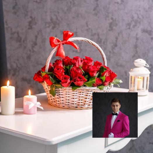 51 красные розы в корзине с премиум доставкой: букеты цветов на заказ Flowwow