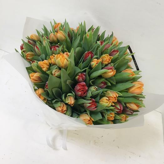 Шикарный букет 99 пионовидных тюльпанов: букеты цветов на заказ Flowwow