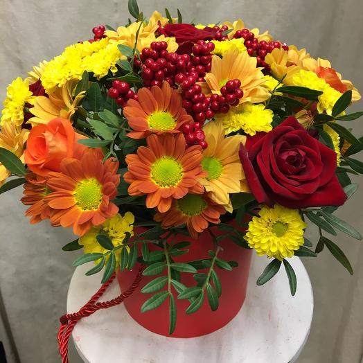 Шляпная коробка «Принцесса Осень», вариация 1: букеты цветов на заказ Flowwow