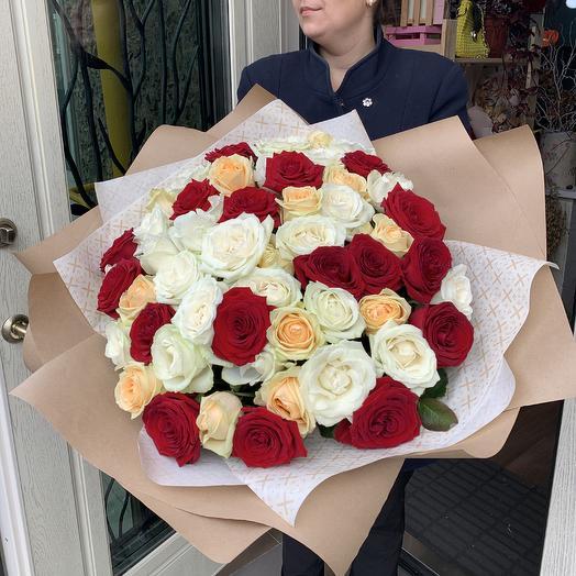 Микс Роза 55 шт: букеты цветов на заказ Flowwow