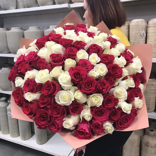 Букет из 101 розы премиум класса: букеты цветов на заказ Flowwow