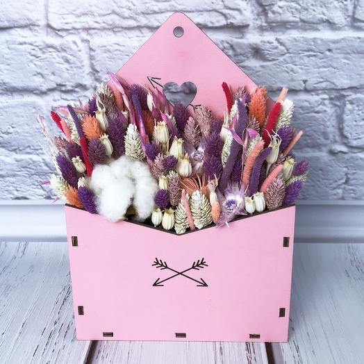 Композиция из сухоцветов «Люблю»: букеты цветов на заказ Flowwow