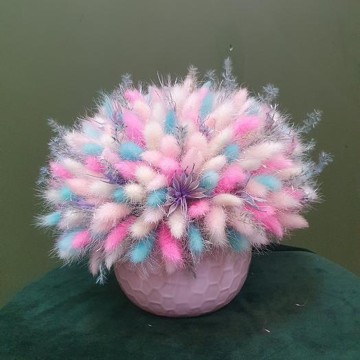 """Композиция из сухоцветов """"Розовое счастье: букеты цветов на заказ Flowwow"""