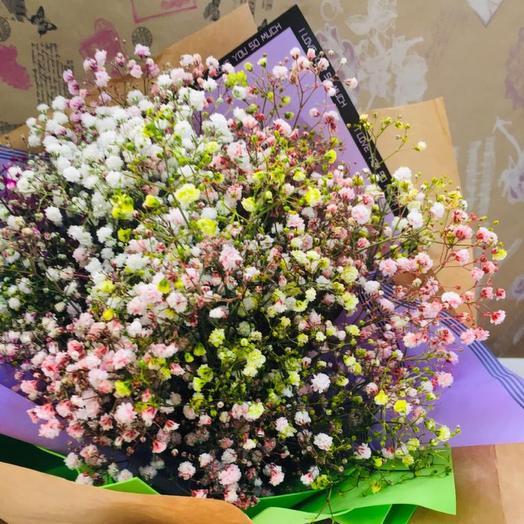 Моно букет из радужной гипсофилы: букеты цветов на заказ Flowwow